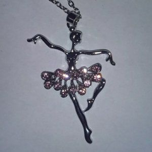 BALLET DANCER NECKLACE - Silver Rhinestone Jewelry